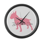Diamonds Bull Terrier Diva Large Wall Clock