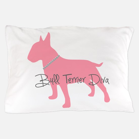 Diamonds Bull Terrier Diva Pillow Case