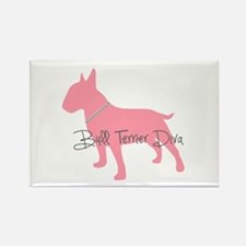 Diamonds Bull Terrier Diva Rectangle Magnet