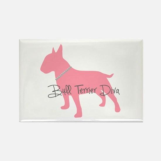 Diamonds Bull Terrier Diva Rectangle Magnet