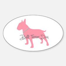 Diamonds Bull Terrier Diva Sticker (Oval)