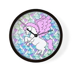 Unicorn Rainbow Pattern Wall Clock