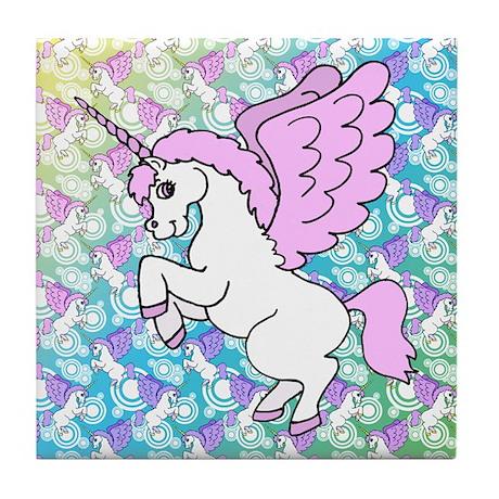 Unicorn Rainbow Pattern Tile Coaster