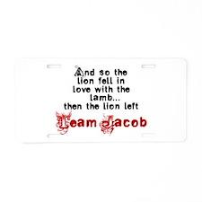 Team Jacob The lion left Aluminum License Plate