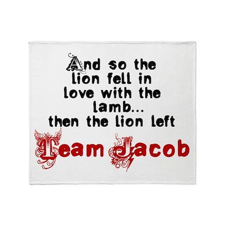 Team Jacob The lion left Throw Blanket