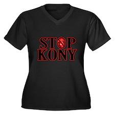 STOP KONY! Women's Plus Size V-Neck Dark T-Shirt