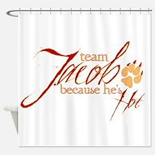 Team Jacob he's hot Shower Curtain