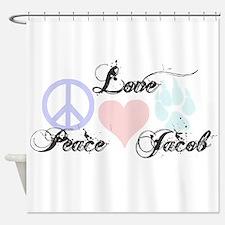 Peace love Jacob Black Shower Curtain