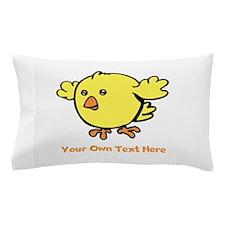 Cute Bird. Orange Text Pillow Case