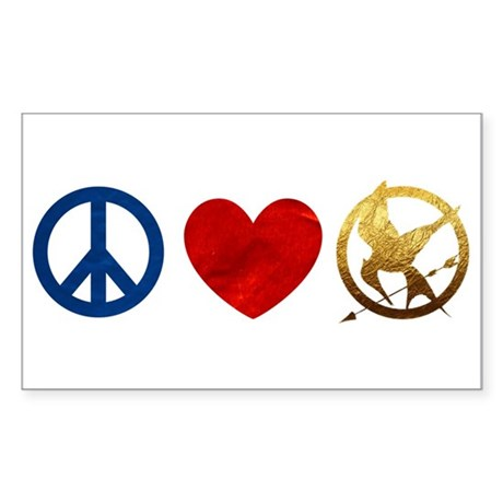 Peace, Love, Hunger Games Sticker (Rectangle 10 pk