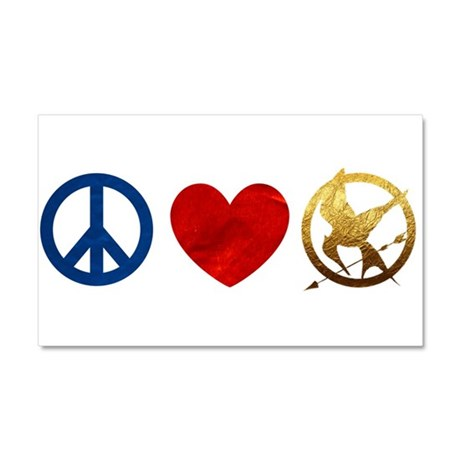 Peace, Love, Hunger Games Car Magnet 20 x 12