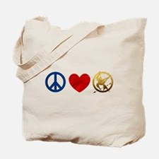 Peace, Love, Hunger Games Tote Bag