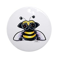 Cute Pug Bee Ornament (Round)