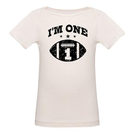 Cute 1 Year Old Football Organic Baby T-Shirt