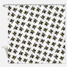 Pug Bees White Shower Curtain