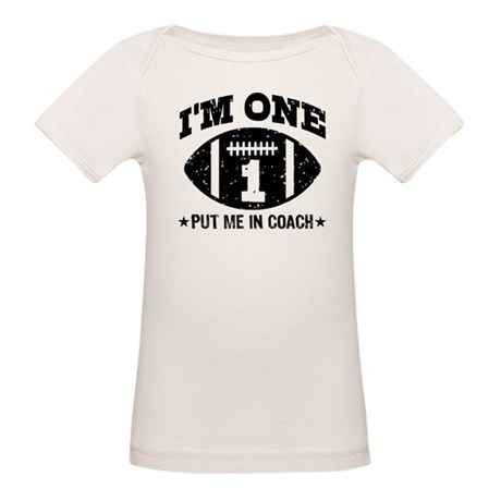 Cute 1 Year Old Football Organic Baby T-Shirt