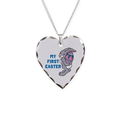 My First Easter Necklace Heart Charm