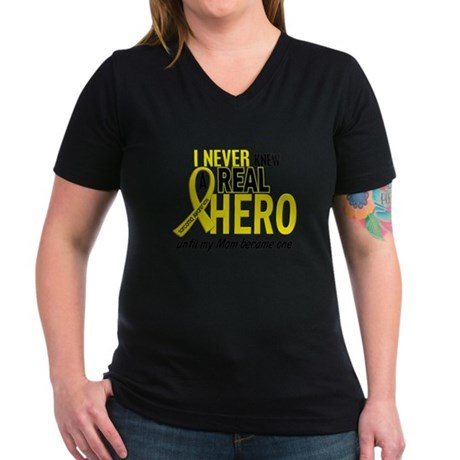 Real Hero Sarcoma Women's V-Neck Dark T-Shirt