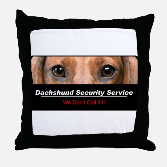 Dachshund Security Service Throw Pillow