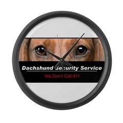 Dachshund Security Service Large Wall Clock
