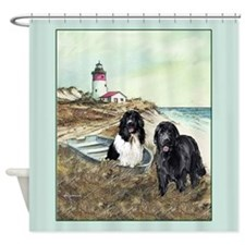 two Newfs and a boat Shower Curtain