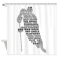 Language of Hockey (skater) Shower Curtain