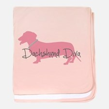 Diamonds Dachshund Diva baby blanket