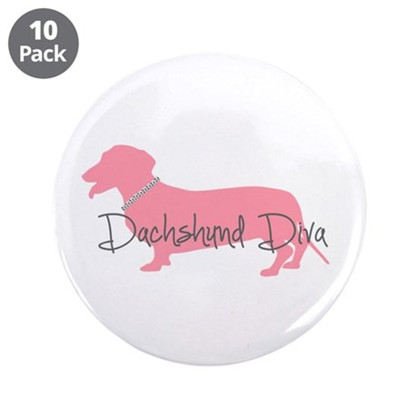 "Diamonds Dachshund Diva 3.5"" Button (10 pack)"