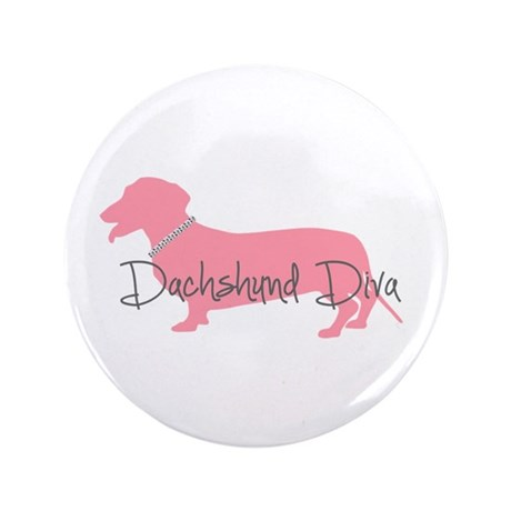 "Diamonds Dachshund Diva 3.5"" Button (100 pack)"