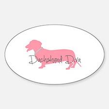 Diamonds Dachshund Diva Sticker (Oval)