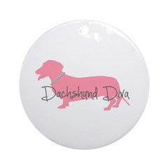 Diamonds Dachshund Diva Ornament (Round)