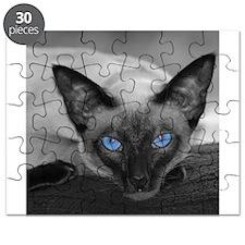Siamese Cat B&W Photo Art Puzzle