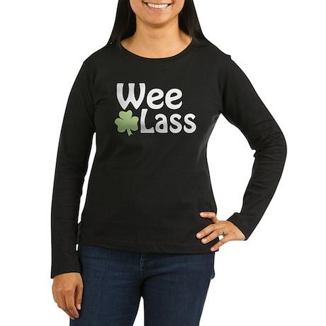 Wee Lass Shamrock Women's Long Sleeve Dark T-Shirt