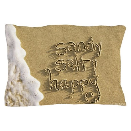 sandy salty and happy Sand Script Pillow Case