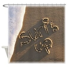 surf's up Sand Script Shower Curtain