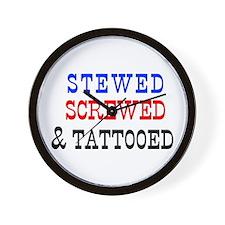 Stewed, Screwed & Tattooed Wall Clock