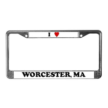 I Love Worcester License Plate Frame