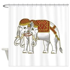 Thai Erawan White Elephant Shower Curtain