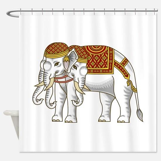 Thai Erawan White Elephant Shower Curtain