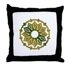 Gold and Green Metal Wheel Throw Pillow