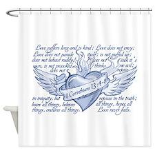 1 Corinthians Love never fail Shower Curtain