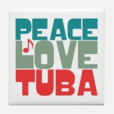 Peace Love Tuba Tile Coaster