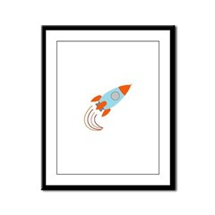 Blue and Orange Rocket Ship Framed Panel Print