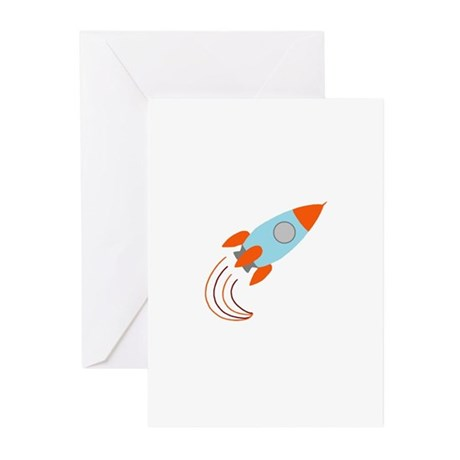Blue and Orange Rocket Ship Greeting Cards (Pk of