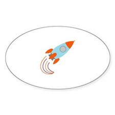 Blue and Orange Rocket Ship Decal