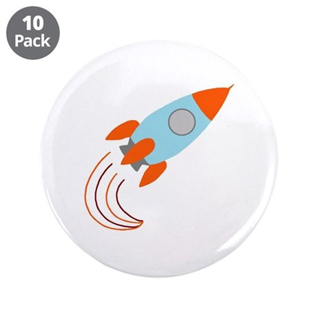 "Blue and Orange Rocket Ship 3.5"" Button (10 pack)"