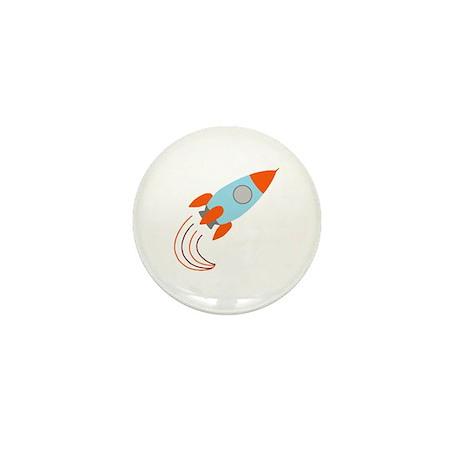 Blue and Orange Rocket Ship Mini Button (10 pack)