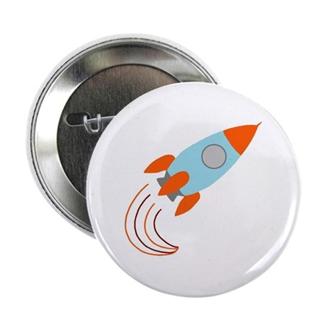 "Blue and Orange Rocket Ship 2.25"" Button (100 pack"