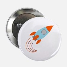 "Blue and Orange Rocket Ship 2.25"" Button"