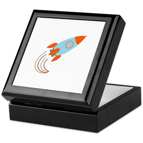 Blue and Orange Rocket Ship Keepsake Box